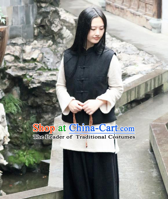 Traditional Chinese Female Costumes,Chinese Acient Clothes, Chinese Plate Buttons Cheongsam Feather Vest, Tang Suits Small Vest Jacket Cotton-Padded Mandarin Jacket for Women