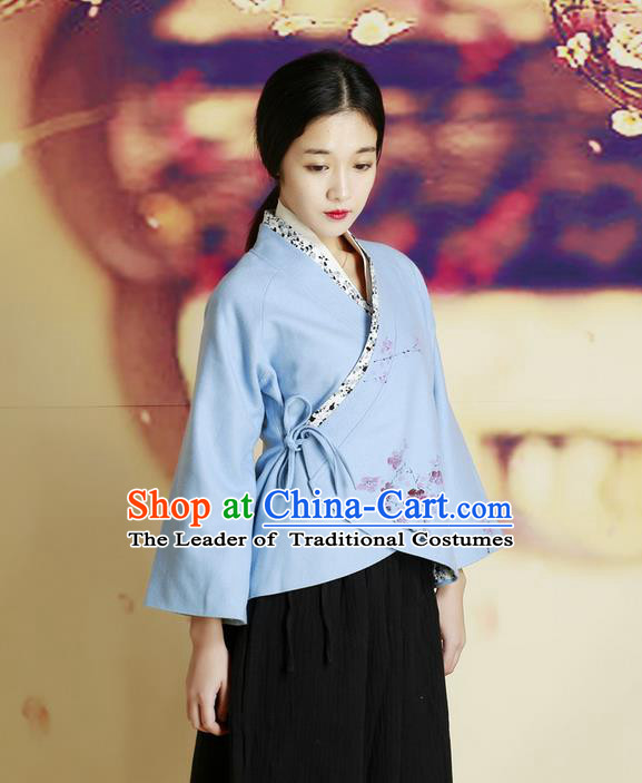 Traditional Chinese Female Costumes, Chinese Acient Hanfu Clothes, Chinese Cheongsam, Tang Suits Plate Buttons Blouse for Women