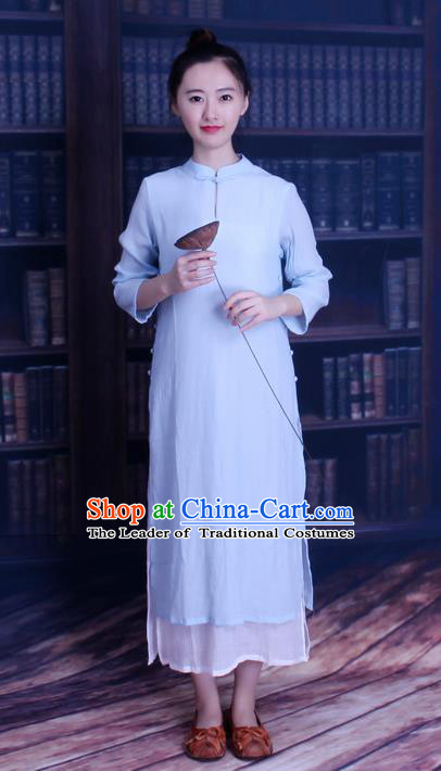 Traditional Chinese Female Costumes, Chinese Acient Clothes, Chinese Mandarin Cheongsam, Tang Suits Plate Buttons Dress for Women