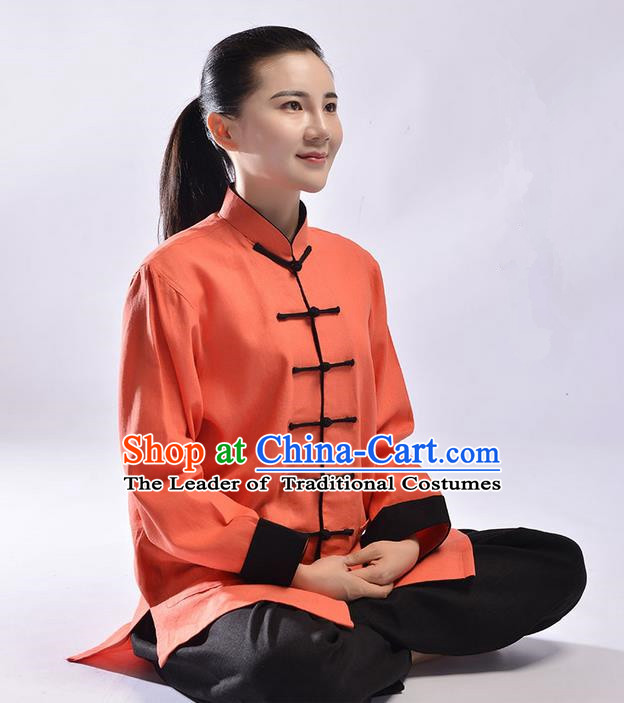 Top Linen Kung Fu Costume Martial Arts Kung Fu Training Uniform Tang Suit Gongfu Shaolin Wushu Clothing Tai Chi Taiji Teacher Suits Uniforms for Women