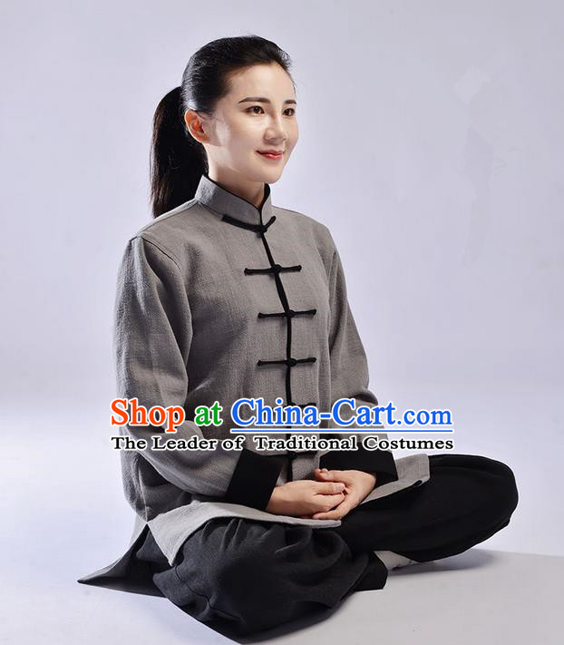 Traditional Chinese Top Thicken Linen Kung Fu Costume Martial Arts Kung Fu Training Uniform Tang Suit Gongfu Shaolin Wushu Clothing Tai Chi Taiji Teacher Suits Uniforms for Women