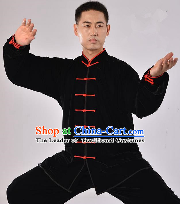 Top Thicken Pleuche Kung Fu Costume Martial Arts Kung Fu Training Uniform Gongfu Shaolin Wushu Clothing Tai Chi Taiji Teacher Suits Uniforms for Men