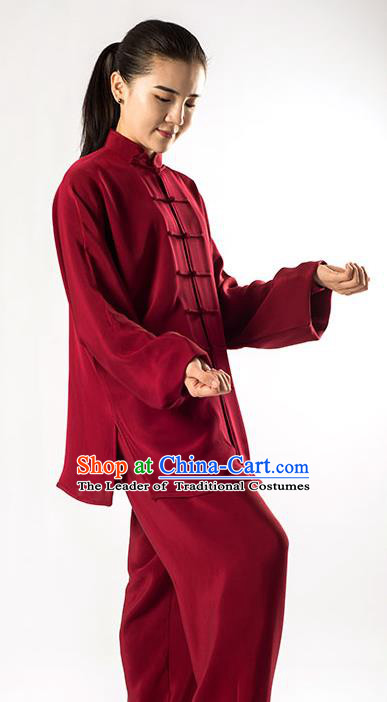 Traditional Chinese Top Silk Kung Fu Costume Martial Arts Kung Fu Training Uniform Tang Suit Gongfu Shaolin Wushu Clothing Tai Chi Taiji Teacher Mulberry Silk Suits Uniforms for Women