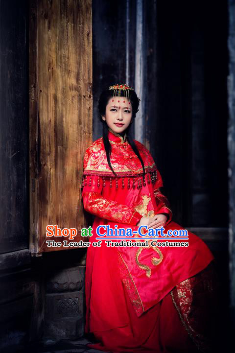 Traditional Chinese Costume Chinese Ancient Wedding Dress, Han Dynasty Bride Dragon and Phoenix Costume Complete Set for Women