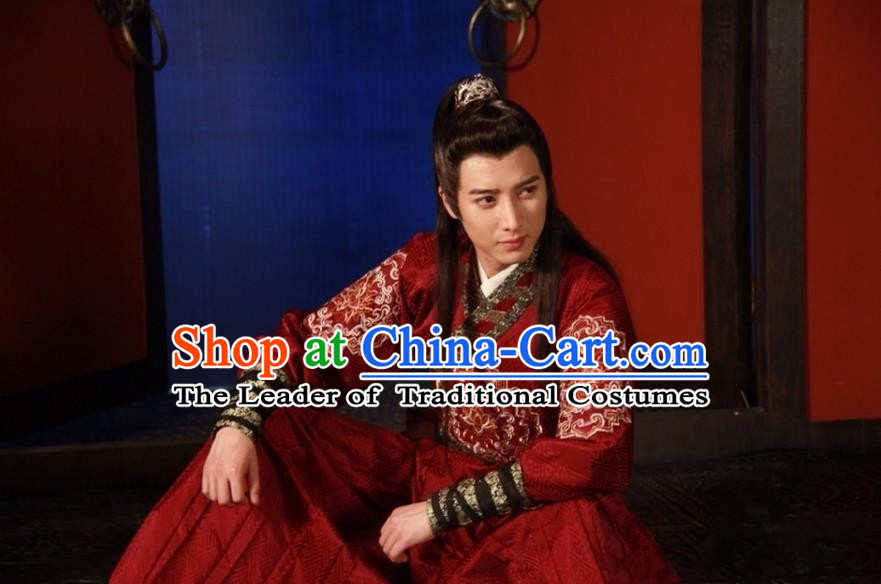 Traditional Chinese Costume Chinese Ancient Royal Nobility Men Dress, Ming Dynasty Prince Wedding Dragon Robe Costume for Men
