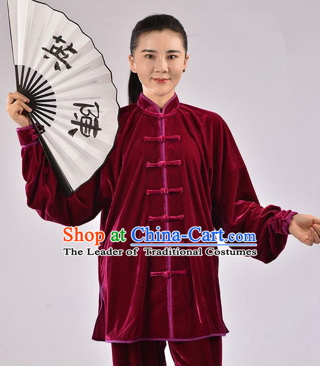 Traditional Chinese Thicken Pleuche Kung Fu Costume Martial Arts Kung Fu Training Uniform Tang Suit Gongfu Shaolin Wushu Clothing Tai Chi Taiji Teacher Suits Uniforms for Women