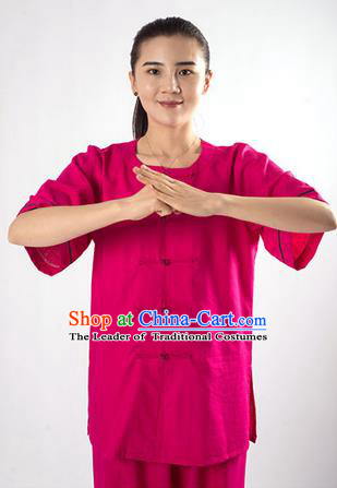 Traditional Chinese Fine Linen Kung Fu Costume Martial Arts Kung Fu Training Uniform Tang Suit Gongfu Shaolin Wushu Clothing Tai Chi Taiji Teacher Suits Uniforms for Women