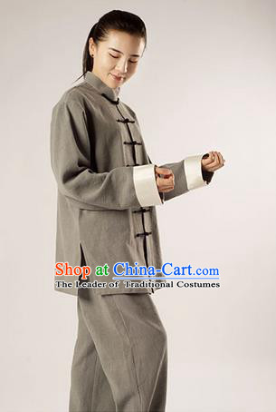 Traditional Chinese Transverse Elastic Cotton Linen Kung Fu Costume Martial Arts Kung Fu Training Uniform Tang Suit Gongfu Shaolin Wushu Clothing Tai Chi Taiji Teacher Suits Uniforms for Women