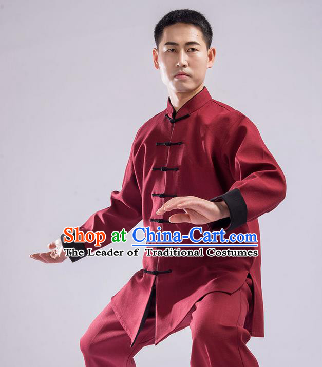 Traditional Chinese Double Flocking Linen Kung Fu Costume Martial Arts Kung Fu Training Uniform Tang Suit Gongfu Shaolin Wushu Clothing Tai Chi Taiji Teacher Suits Uniforms for Men
