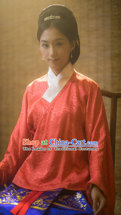 Traditional Chinese Ming Dynasty Young Lady Embroidered Costume Red Silk Blouse, Asian China Ancient Hanfu Clothing for Women