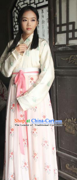 Traditional Chinese Tang Dynasty Princess Embroidered Costume, Asian China Ancient Imperial Concubine Hanfu Clothing for Women