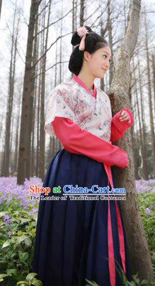 Traditional Chinese Tang Dynasty Palace Lady Embroidered Costume, Asian China Ancient Imperial Concubine Hanfu Clothing for Women