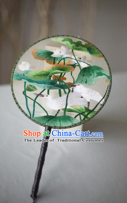 Traditional Chinese Palace Lady Accessories Hanfu Embroidered Birds Lotus Fans, Asian China Ancient Round Fan for Women