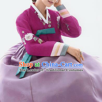 Traditional Korean Costumes Bride Wedding Purple Blouse and Silk Dress, Korea Hanbok Princess Court Embroidered Clothing for Women