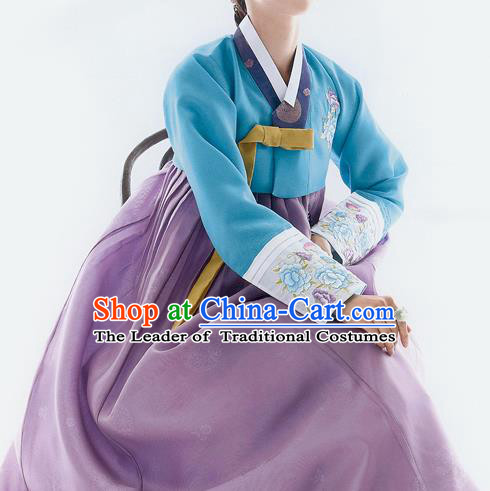 Traditional Korean Costumes Bride Wedding Blue Blouse and Purple Silk Dress, Korea Hanbok Princess Court Embroidered Clothing for Women