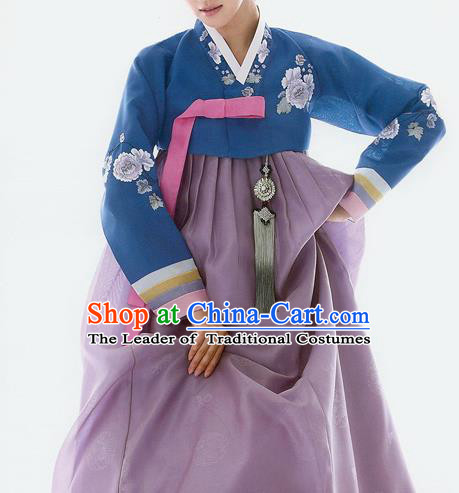 Traditional Korean Costumes Bride Wedding Deep Blue Blouse and Purple Silk Dress, Korea Hanbok Princess Court Embroidered Clothing for Women