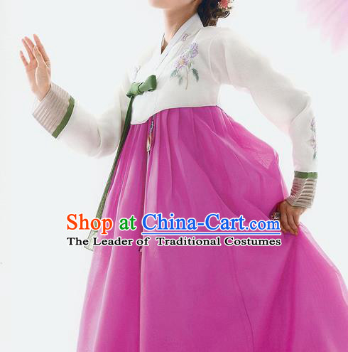 Traditional Korean Costumes Bride Wedding White Blouse and Pink Silk Dress, Korea Hanbok Princess Court Embroidered Clothing for Women