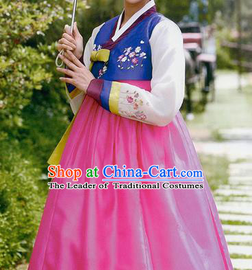 Traditional Korean Costumes Bride Wedding Deep Blue Blouse and Pink Silk Dress, Korea Hanbok Princess Court Embroidered Clothing for Women