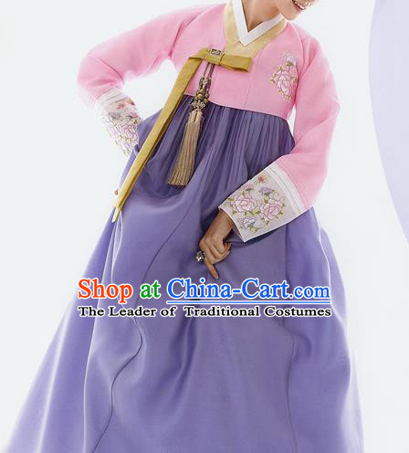 Traditional Korean Costumes Bride Wedding Pink Blouse and Purple Silk Dress, Korea Hanbok Princess Court Embroidered Clothing for Women