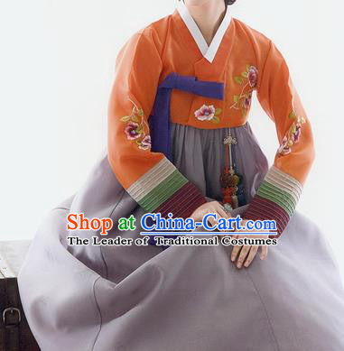 Traditional Korean Costumes Bride Wedding Orange Blouse and Purple Silk Dress, Korea Hanbok Princess Court Embroidered Clothing for Women