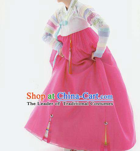 Traditional Korean Costumes Princess White Blouse and Pink Dress, Korea Hanbok Court Embroidered Clothing for Women