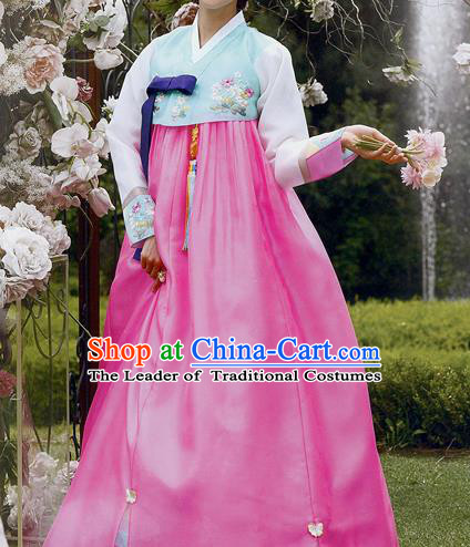 Traditional Korean Costumes Princess Green Blouse and Pink Dress, Asian Korea Hanbok Court Embroidered Clothing for Women