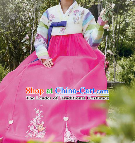 Traditional Korean Costumes Princess Yellow Blouse and Pink Dress, Asian Korea Hanbok Court Embroidered Clothing for Women