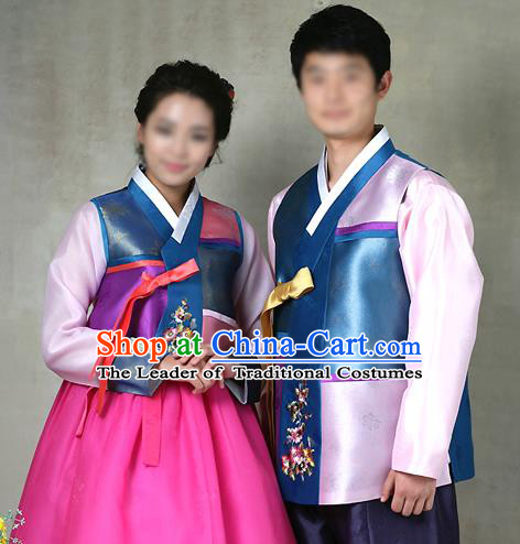 Traditional Korean Costumes Bridegroom and Bride Formal Attire Ceremonial Clothes, Korea Court Embroidered Wedding Clothing for Men for Women