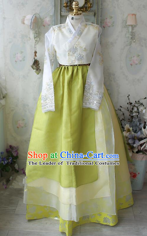 Traditional Korean Costumes Imperial Palace Lady Wedding White Blouse and Green Dress, Asian Korea Hanbok Court Bride Embroidered Clothing for Women