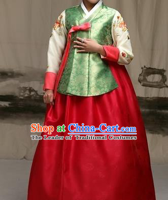 Traditional Korean Costumes Imperial Palace Lady Wedding Green Blouse and Red Dress, Asian Korea Hanbok Court Bride Embroidered Clothing for Women