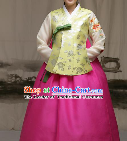 Traditional Korean Costumes Imperial Palace Lady Wedding Green Blouse and Pink Dress, Asian Korea Hanbok Court Bride Embroidered Clothing for Women