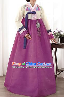 Traditional Korean Costumes Palace Lady Formal Attire Ceremonial Yellow Blouse and Purple Dress, Asian Korea Hanbok Bride Embroidered Clothing for Women