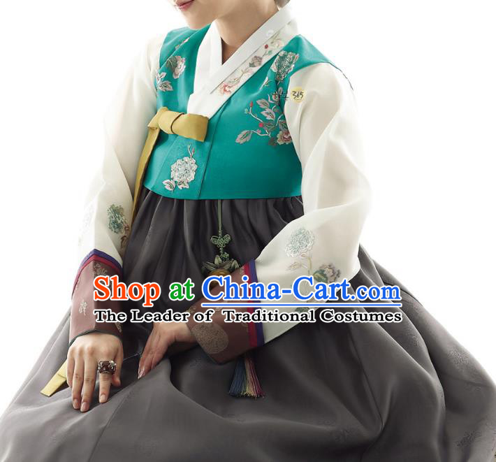 Traditional Korean Costumes Palace Lady Formal Attire Ceremonial Green Blouse and Black Dress, Asian Korea Hanbok Bride Embroidered Clothing for Women
