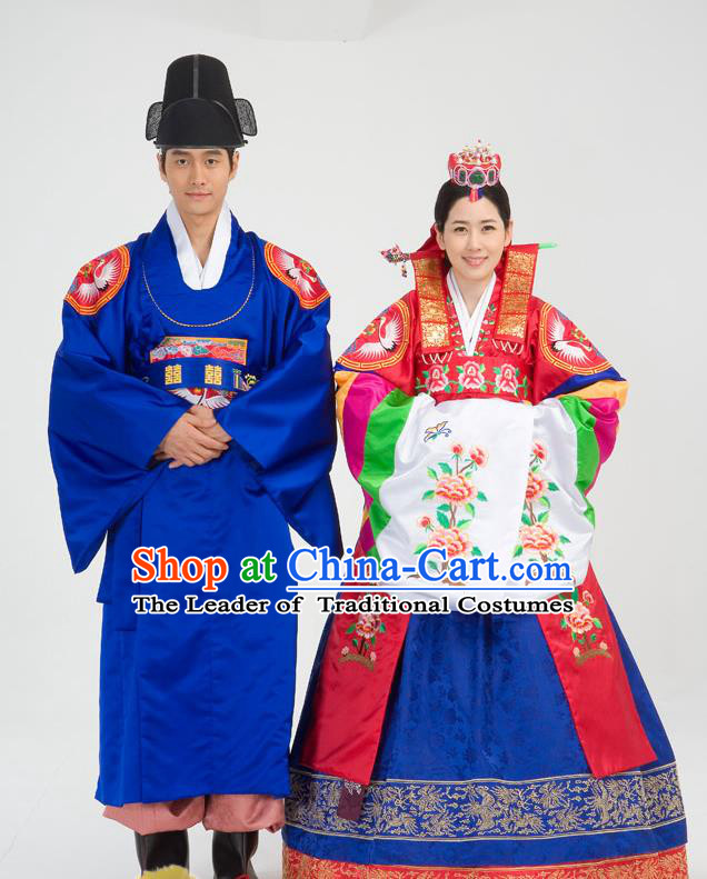 Traditional Korean Costumes Palace Lady Formal Attire Ceremonial Wedding Purple Dress, Asian Korea Hanbok Bride Embroidered Clothing for Women