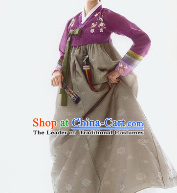 Traditional Korean Costumes Palace Lady Formal Attire Ceremonial Wedding Grey Dress, Asian Korea Hanbok Court Bride Clothing for Women