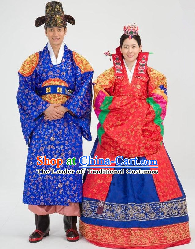 Traditional Korean Costumes Emperor and Empress Formal Attire Ceremonial Wedding Clothing, Asian Korea Hanbok Embroidered Clothing for Women for Men
