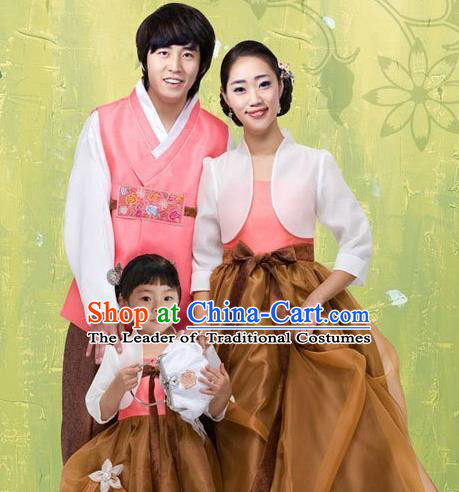 Traditional Korean Costumes Parent-Child Outfit Full Dress Family Formal Attire Ceremonial Clothes, Korea Court Embroidered Clothing