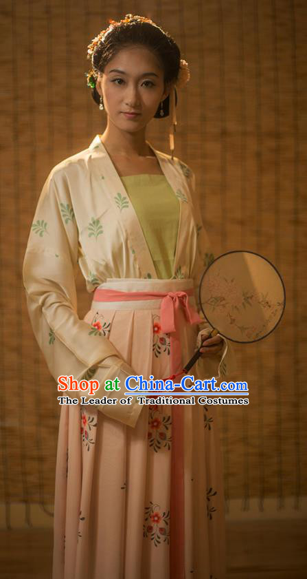 Traditional Chinese Song Dynasty Nobility Lady Embroidered Dress Costume, Asian China Ancient Hanfu Dress Clothing for Women