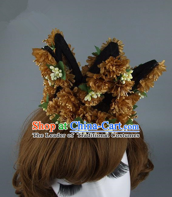Top Grade Handmade Princess Hair Accessories Model Show Brown Flowers Royal Crown, Baroque Style Bride Deluxe Headwear for Women