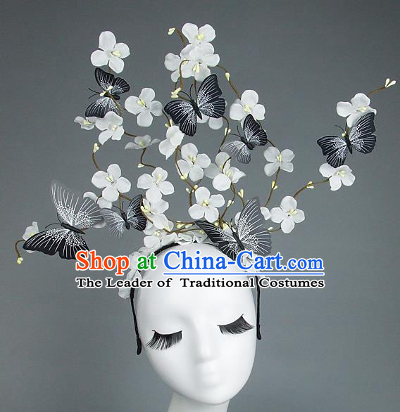 Asian China Butterfly White Flowers Hair Accessories Model Show Headdress, Halloween Ceremonial Occasions Miami Deluxe Headwear
