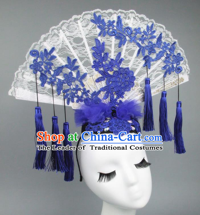 Asian China Theatrical Ornamental Flowers Floral Hair Accessories Model Show Lace Tassel Headdress, Traditional Chinese Manchu Lady Headwear for Women