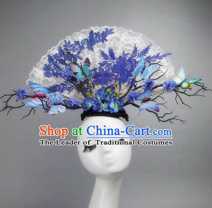Asian China Theatrical Ornamental Flowers White Lace Floral Hair Accessories Model Show Headdress, Traditional Chinese Manchu Lady Headwear for Women