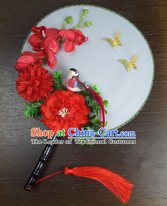 Traditional Handmade Chinese Ancient Wedding Round Fans, Hanfu Palace Lady Red Peony Flowers Bride Mandarin Fans for Women