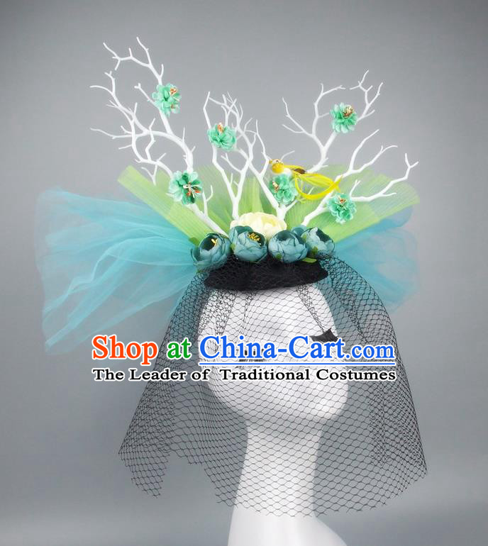 Asian China Green Veil Hair Accessories Model Show Headdress, Halloween Ceremonial Occasions Miami Deluxe Headwear