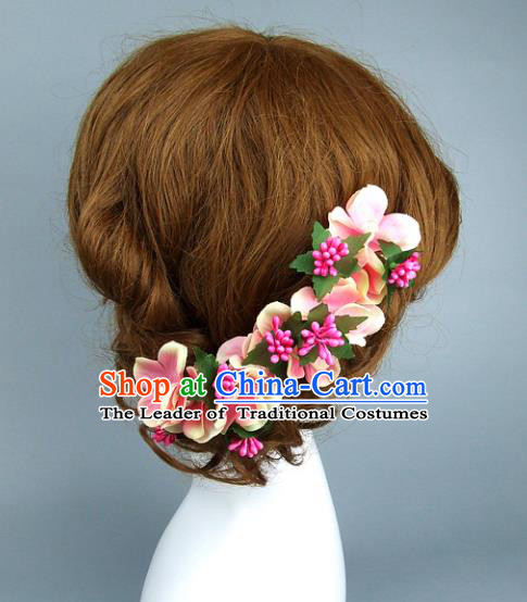 Asian China Wedding Pink Flowers Hair Accessories, Model Show Headdress Bride Headwear for Women
