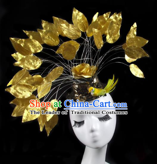 Asian China Exaggerate Hair Accessories Model Show Golden Feather Hat, Halloween Ceremonial Occasions Miami Deluxe Headwear