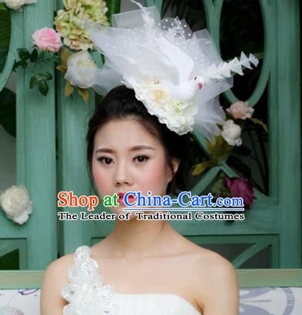 Asian China Bridal Veil Hair Accessories Model Show Headdress, Halloween Ceremonial Occasions Miami Deluxe Headwear