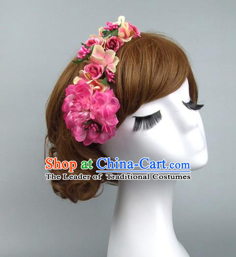 Traditional Handmade Chinese Classical Wedding Hair Accessories, Baroque Bride Pink Flowers Hair Clasp for Women