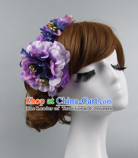 Traditional Handmade Chinese Classical Wedding Hair Accessories, Baroque Bride Purple Flowers Hair Clasp for Women
