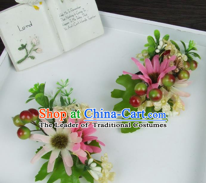 Asian China Wedding Bride Hair Accessories Pink Flower Hair Stick Baroque Headwear for Women